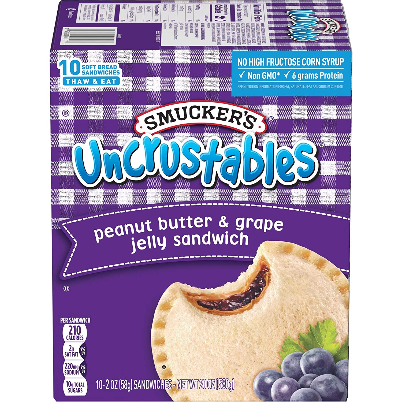 Smucker's Uncrustables Peanut Butter & Grape Jelly Sandwiches, 20 oz (Frozen)
