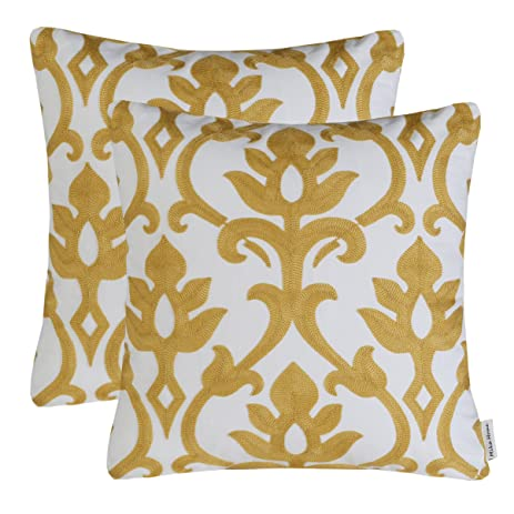 pack of 2 mika home embroidery vintage floral throw pillow cases cushion covers for