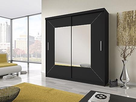 Sliding Doors Boston Negro Armario de Puertas correderas con Espejo Grande Centro: Amazon.es: Hogar