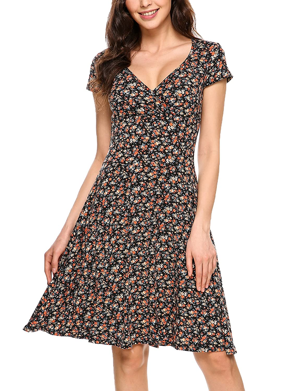 Zeagoo Damen Sommerkleider Jerseykleid Wickelkleid Vintage Blumen Kleid V-Ausschnitt Kurzarm Knielang