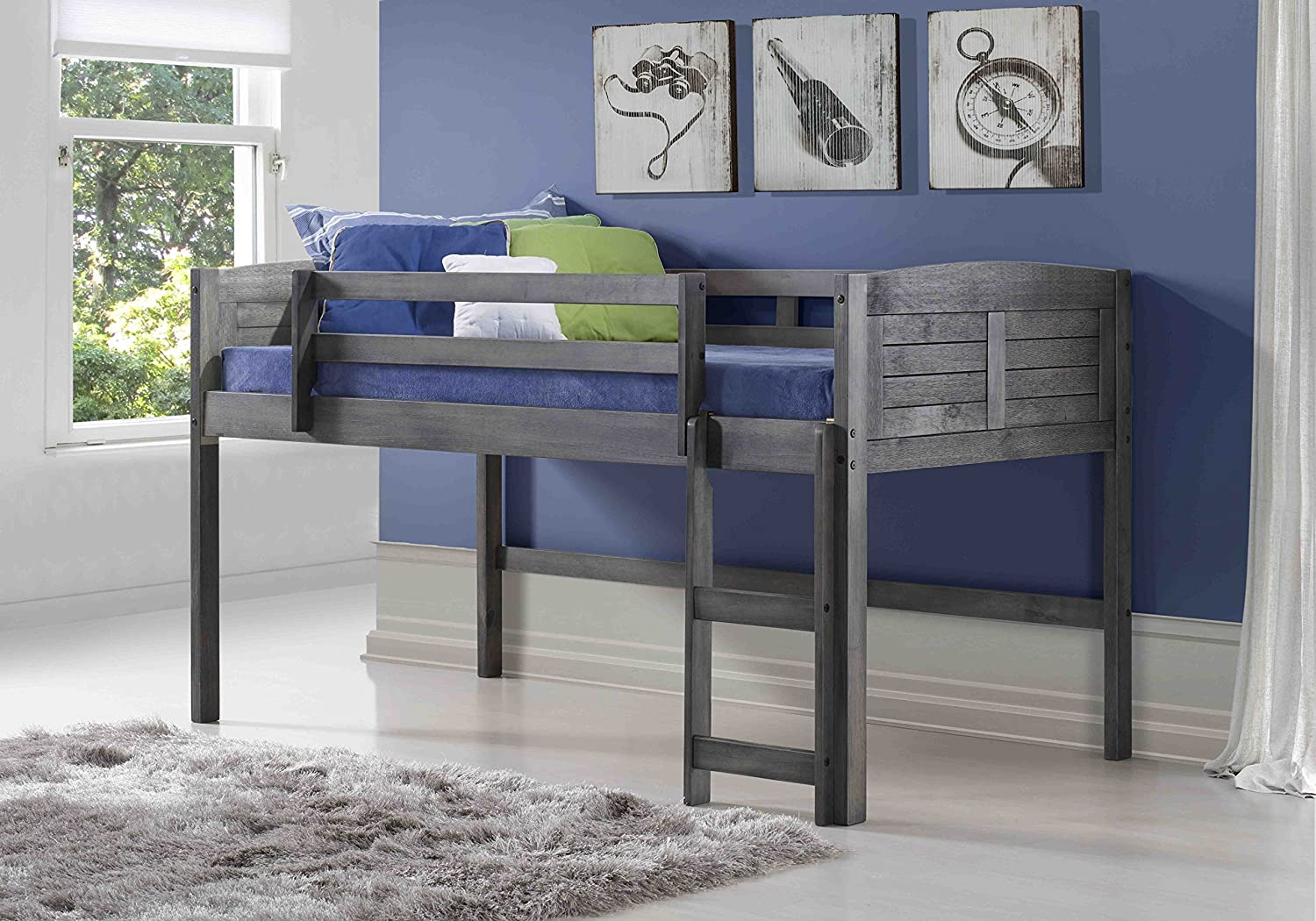 DONCO KIDS 790AAG Louver Modular Low Loft Bed Combo A, Twin, Antique Grey