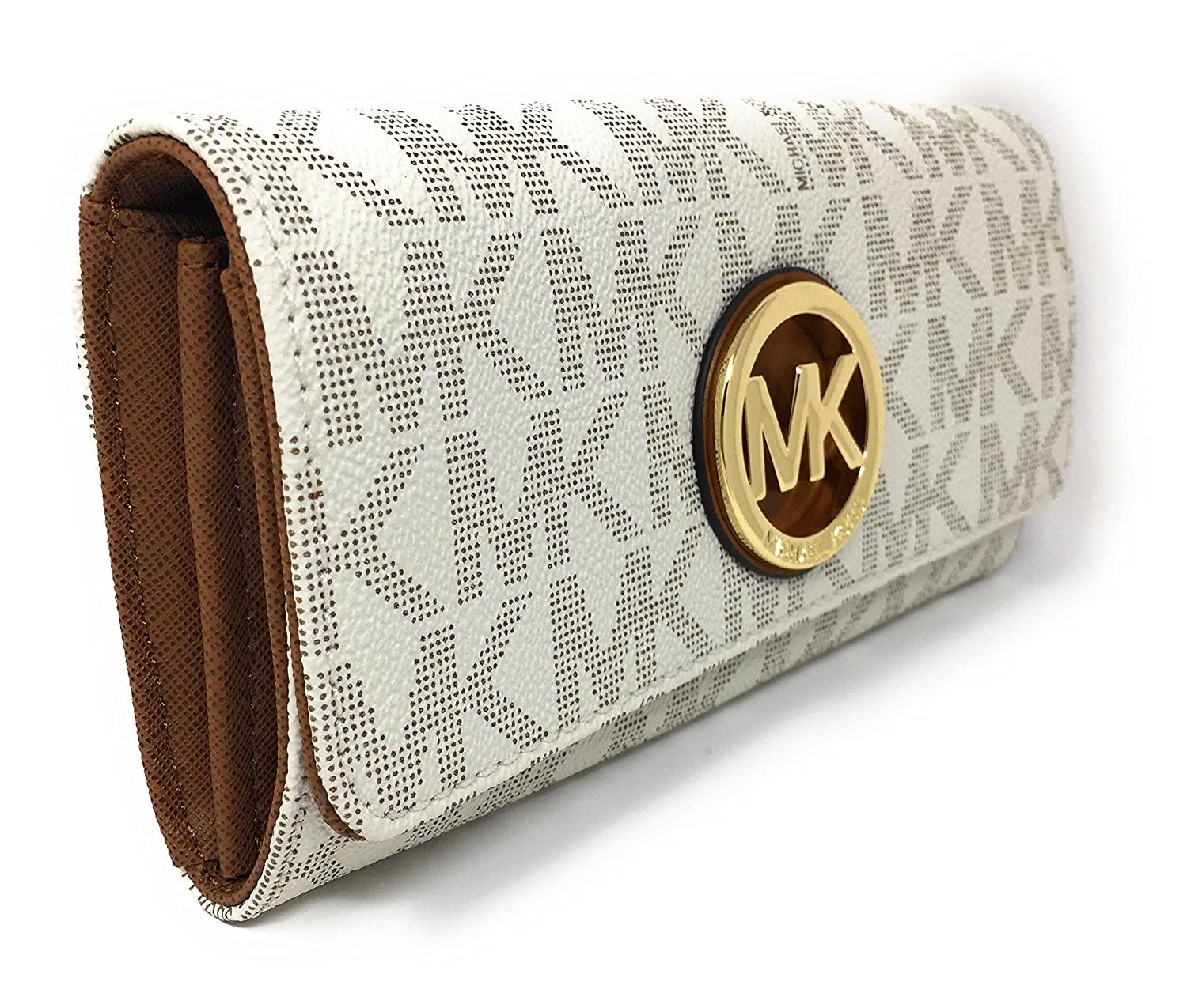 8bcbfc0b344eae Amazon.com: Michael Kors Signature PVC Fulton Flap Wallet (Vanilla),Vanilla,Small:  A Little Bit Of Fashion
