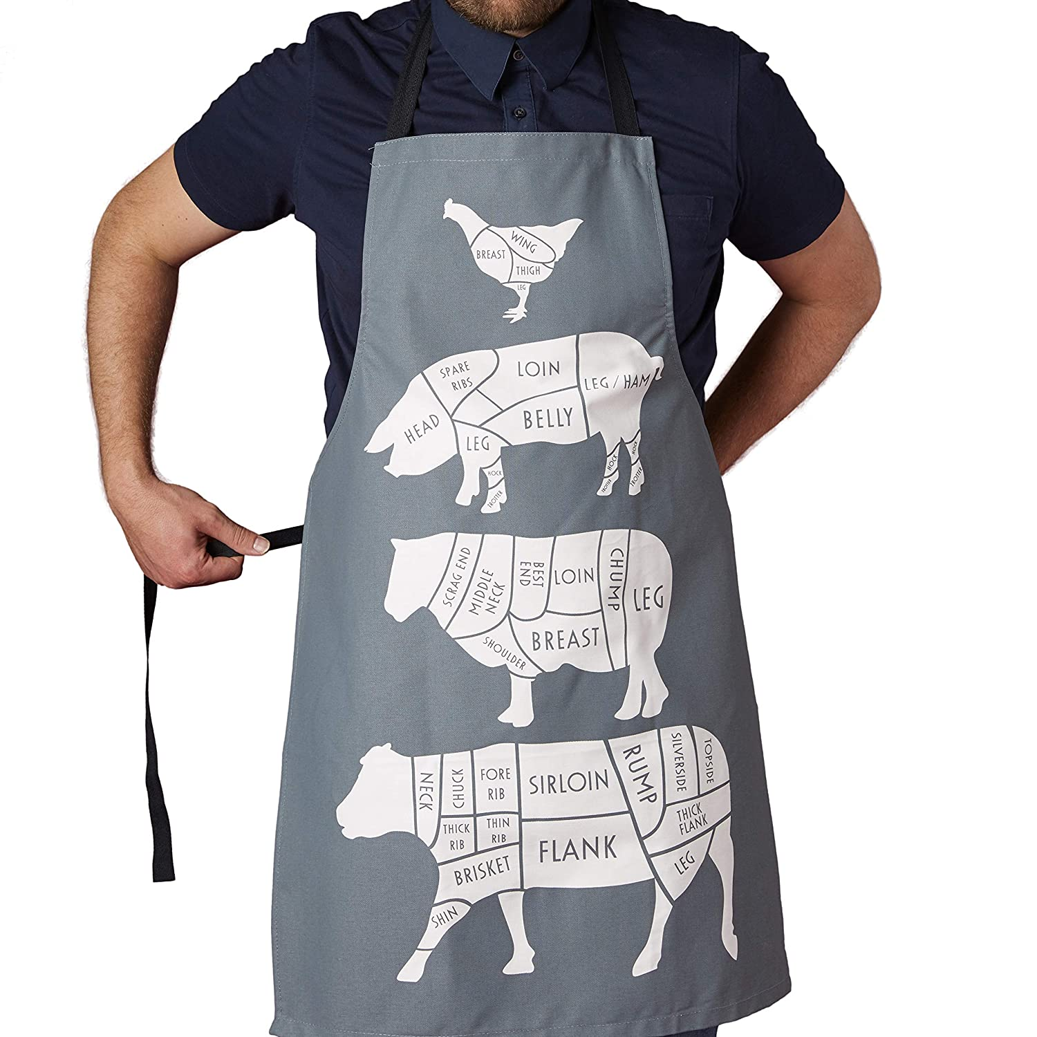 TBS Chefs Apron with Butcher cuts of meat Butcher Apron | Apron for professional use | Apron for home cooking | gift from him | gift for a foodie | cotton charcoal grey chef apron