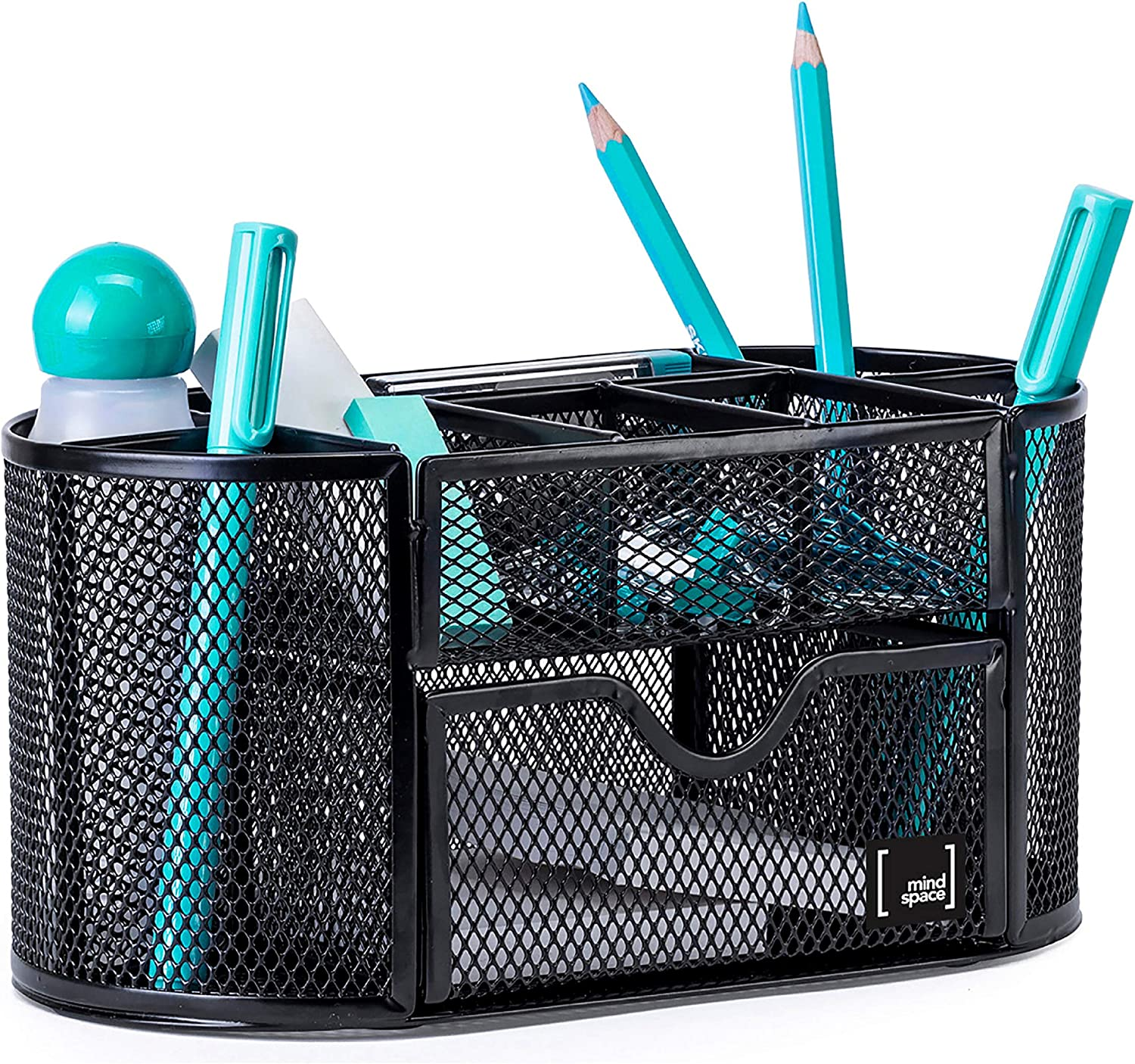 Pen Holder for Desk By Mindspace with 8 Compartments + Drawer  Office Supplies Organizer   The Mesh Collection, Black: Home Improvement
