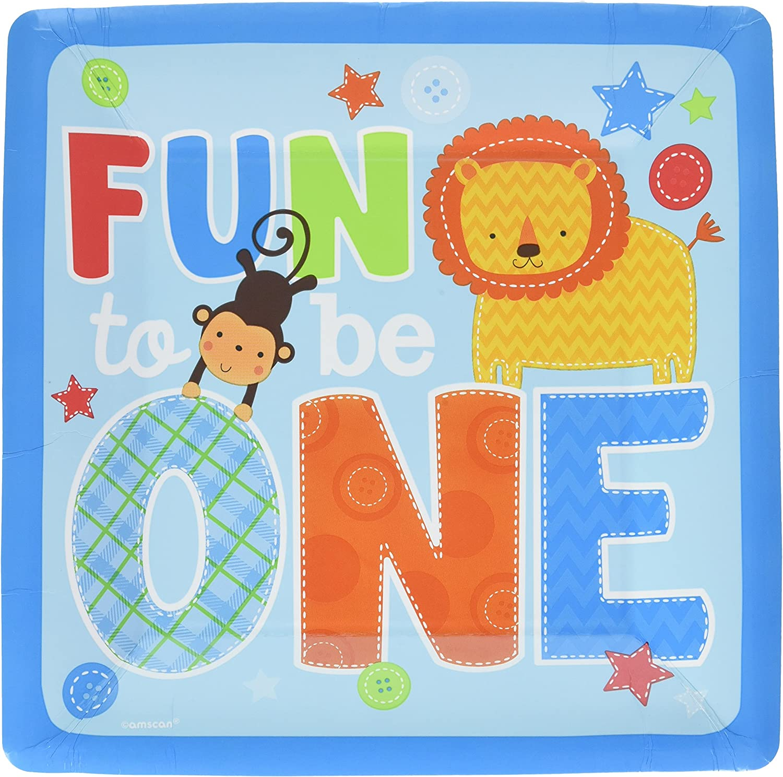 "B00U0KAPDW amscan One Wild Boy Birthday Square Dinner Multi Colored Paper 10"" x 10"" 16-Piece Childrens Party Plates 912BxVxi-PYL.SL1500_"
