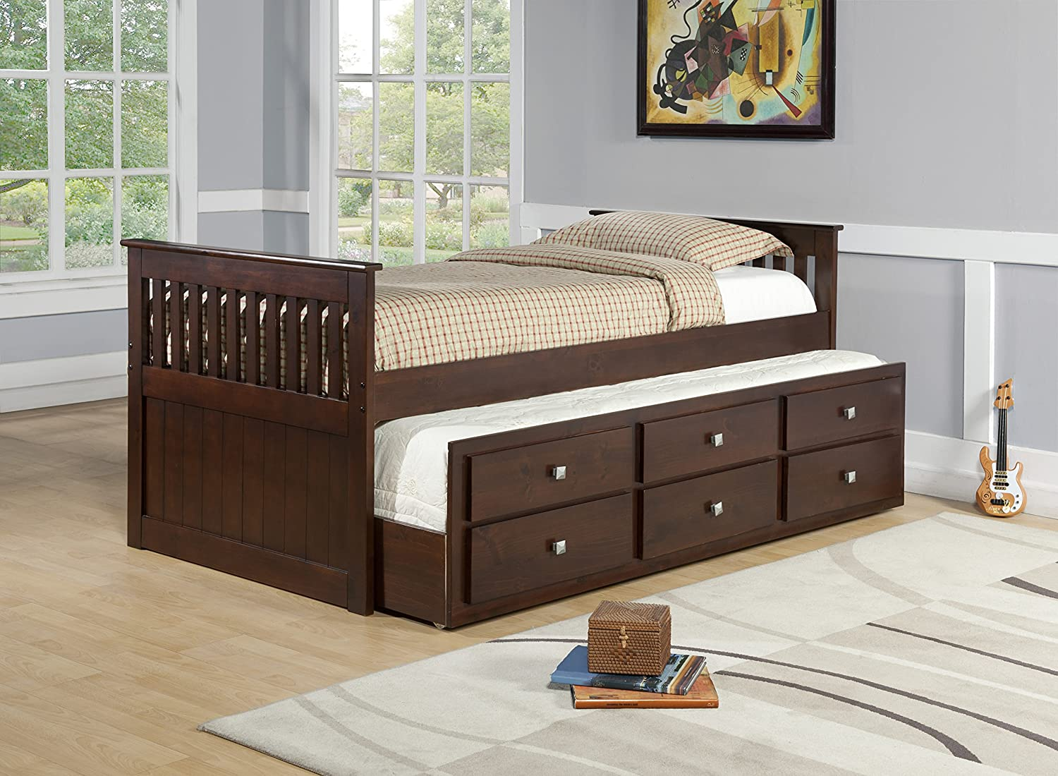 DONCO Kids With With Roll out Storage Trundle Bed, Twin, Dark Cappuccino