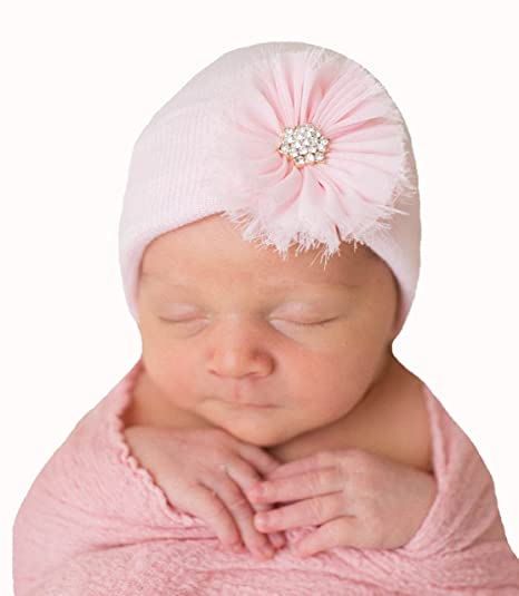 44f6ad90dcb Image Unavailable. Image not available for. Color  Melondipity s Newborn  Girl Pink Beanie with Pink Frayed Flower Nursery Hospital Hat