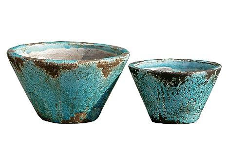Amazon.com : The Beach Chic Blue Turquoise Cone Cache Pot Planters ...