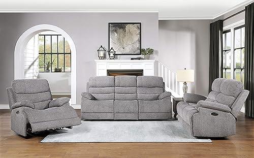 Lexicon Betong 3-Piece Power Sofa Reclining Set, Smoke Grey