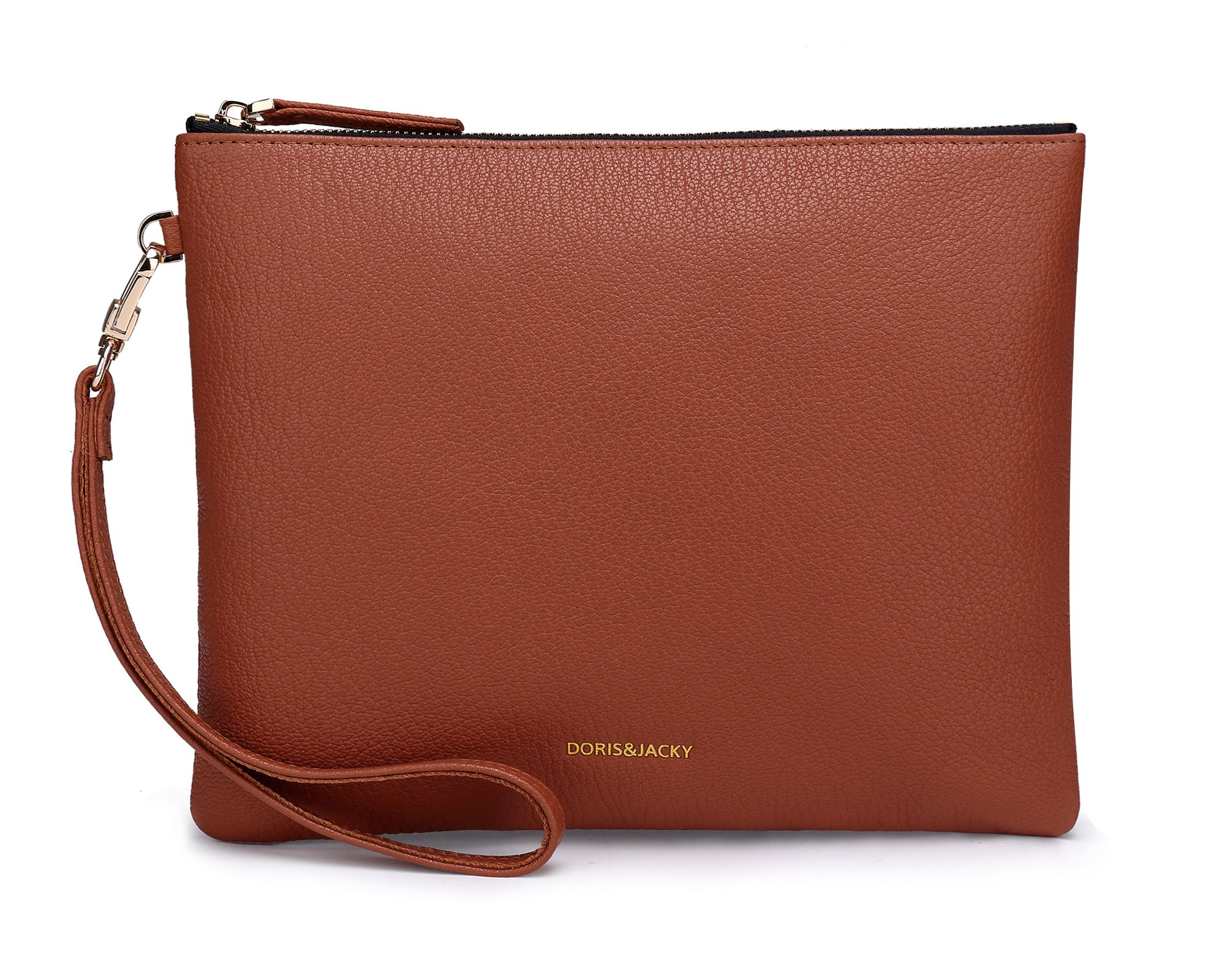 Soft Lambskin Leather Wristlet Clutch Bag For Women Designer Large Wallets With Strap (Brown-Goat Leather)