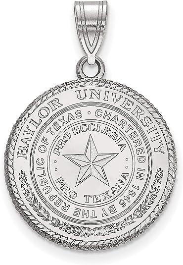 Baylor University Bears School Crest Pendant in Sterling Silver