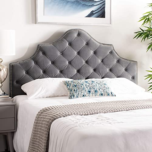 Safavieh Mercer Collection Arebelle Grey Pewter Velvet Headboard Queen