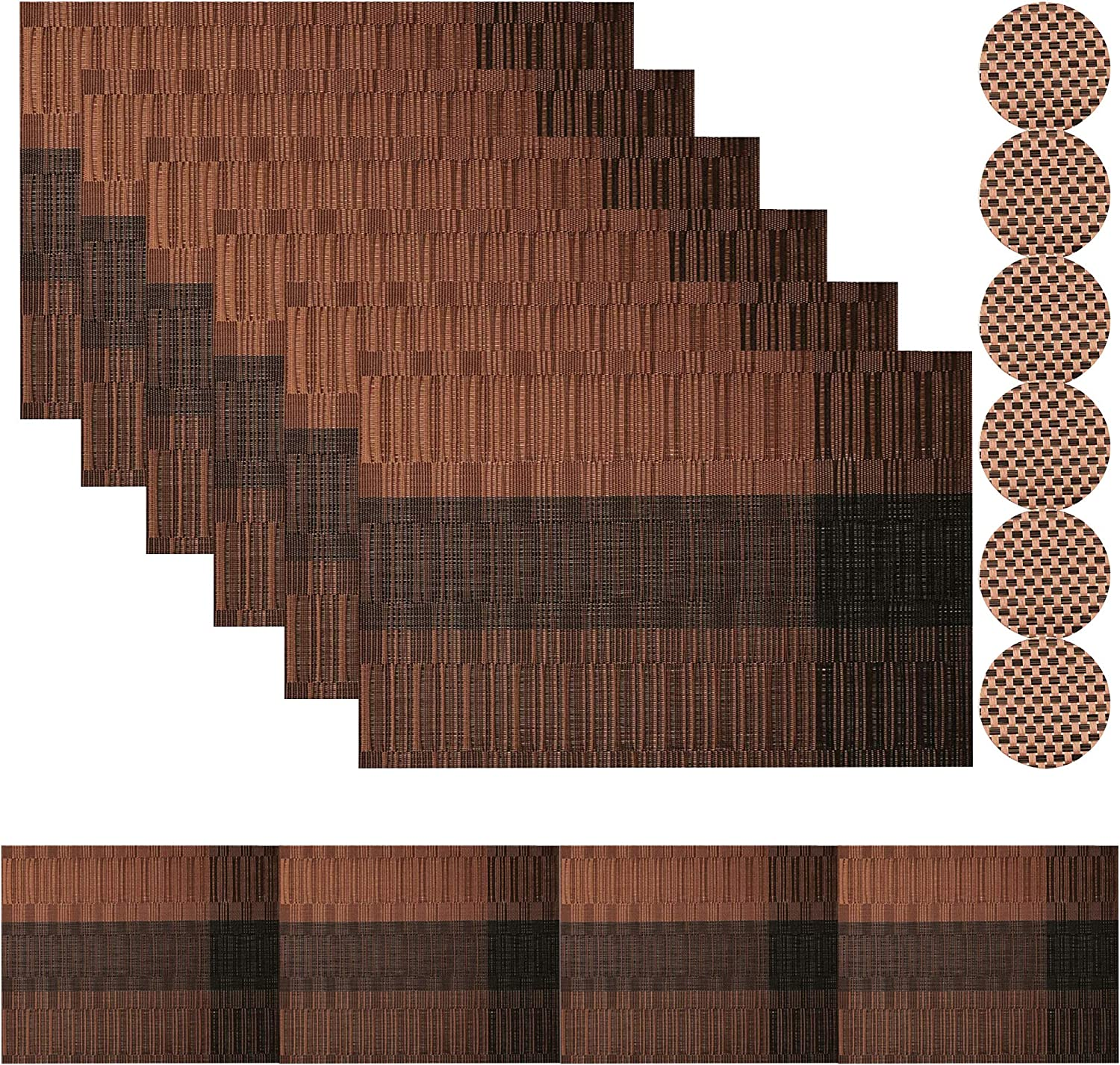 Famibay PVC Placemats with Coasters Set of 6 and Table Runner 180cm Heat Resistant Weave Table Mats for Kitchen Table Brown
