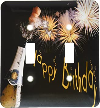 3drose Lsp 47042 2 Champagne Surprise Happy Birthday Fireworks Coming Of Age Double Toggle Switch Multi Switch Plates