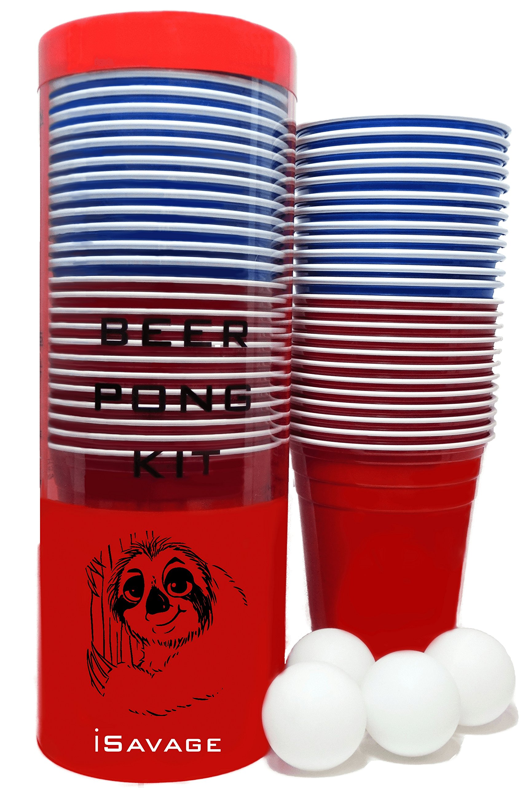 iSAVAGE Beer Pong Set - 24 Red & Blue 16oz Plastic Cups, 4 White Beer Pong Balls with Instructions | Sloth | Indoor & Outdoor Events | Classic Adults College Drinking Game - Portable Party Kit