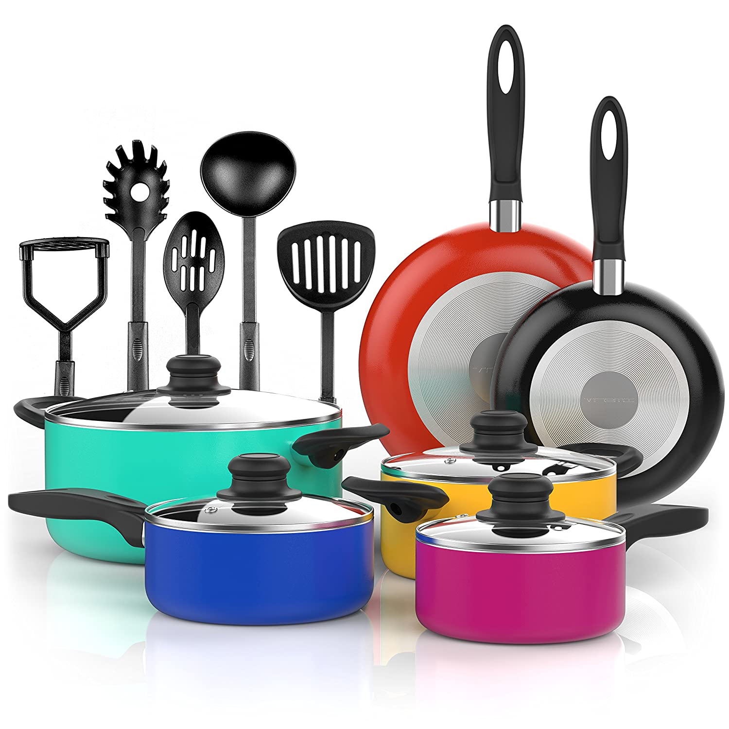 Vremi 15 Piece Nonstick Cookware Set - Colored Kitchen Pots and Pans Set Nonstick with Cooking Utensils