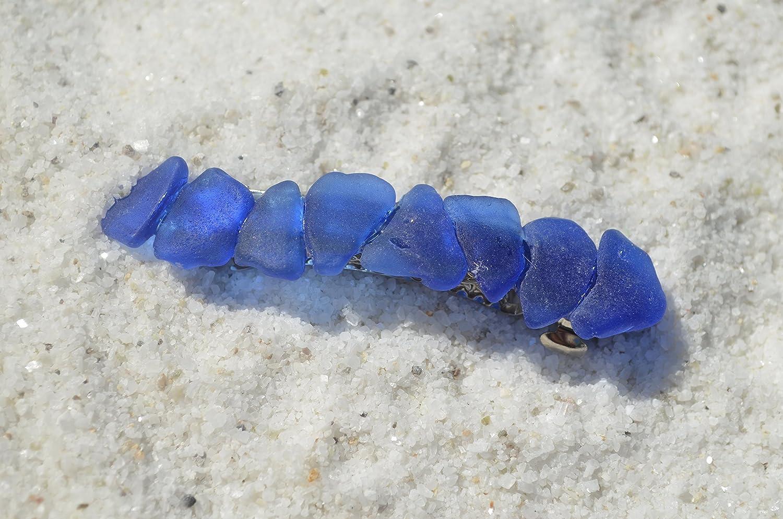 Genuine Cobalt Blue Sea Glass French Barrette Hair Clips