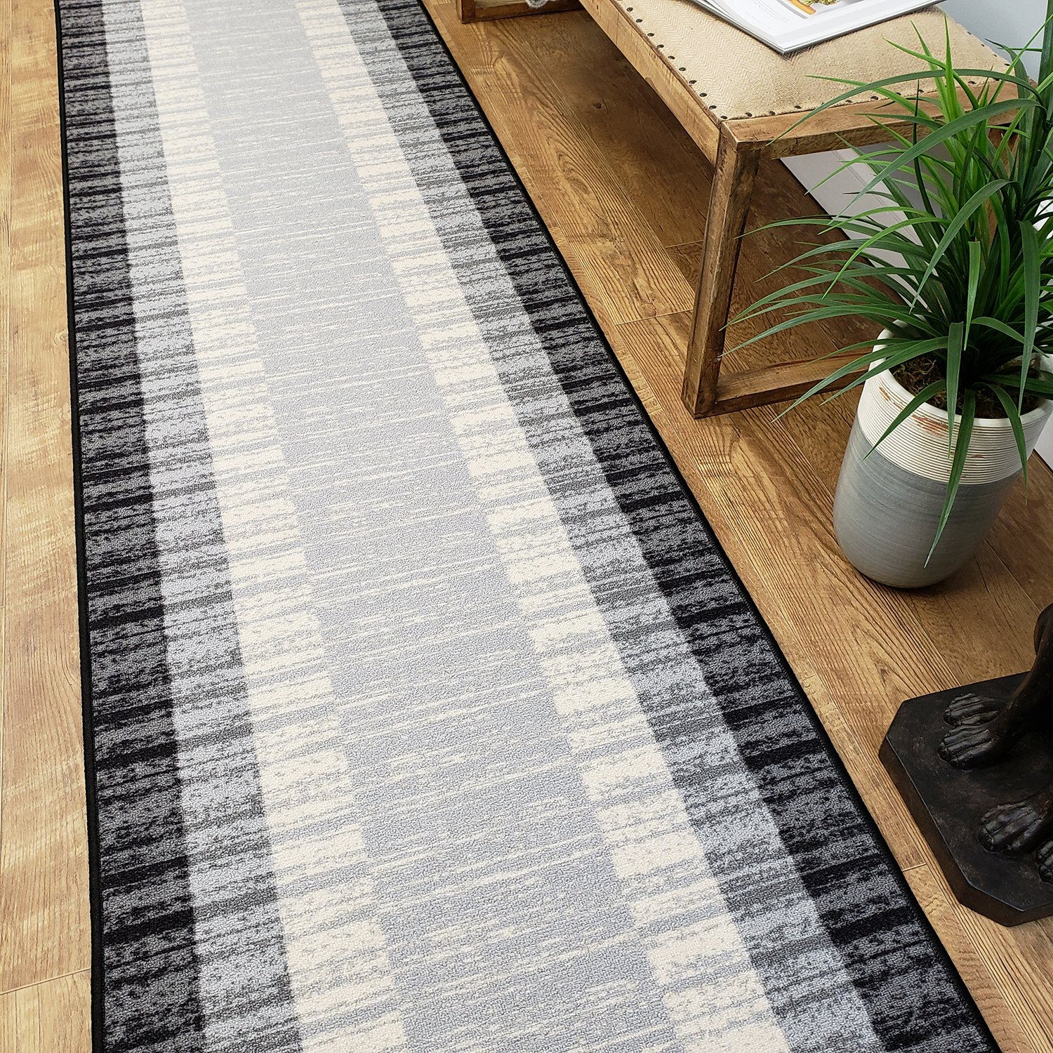 Runner Rug 2x7 Gray Border Stripe Kitchen Rugs and mats Rubber Backed Non Skid Living Room Bathroom Nursery Home Decor Under Door Entryway Floor Non Slip Washable | Made in Europe
