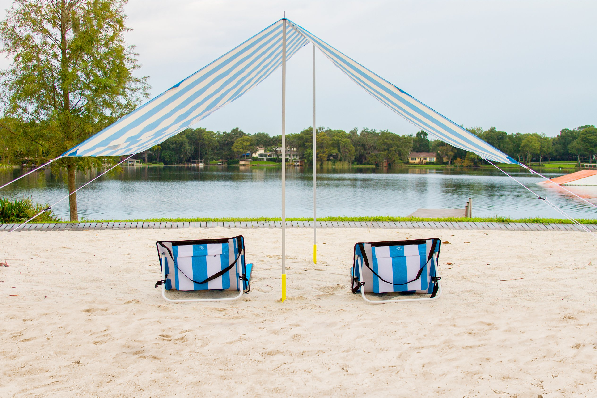 June & May Beach Chair - Compact, Portable, Light-weight, Easy Set-Up, with Storage Pouch and Adjustable Back Beach Chair by June & May