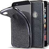 Cover iPhone 5s, Cover iPhone SE Silicone morbido Brillantini Grigio de Moozy® - Ultra Sottile Bling Custodia in Silicone Trasparente TPU con Glitter