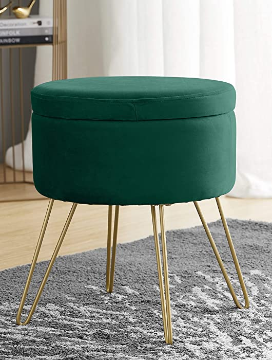 Ornavo Home Modern Round Velvet Storage Ottoman Foot Rest Stool/Seat with Gold Metal Legs & Tray Top Coffee Table - Emerald Green