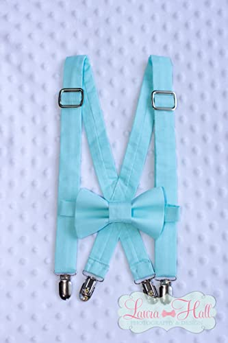 d7535ce2496a Amazon.com: Bow tie and SUSPENDERS set AQUA- aqua tie, aqua suspenders,  solid aqua suspenders, mens aqua bow tie suspenders, toddler boys aqua bow  tie: ...