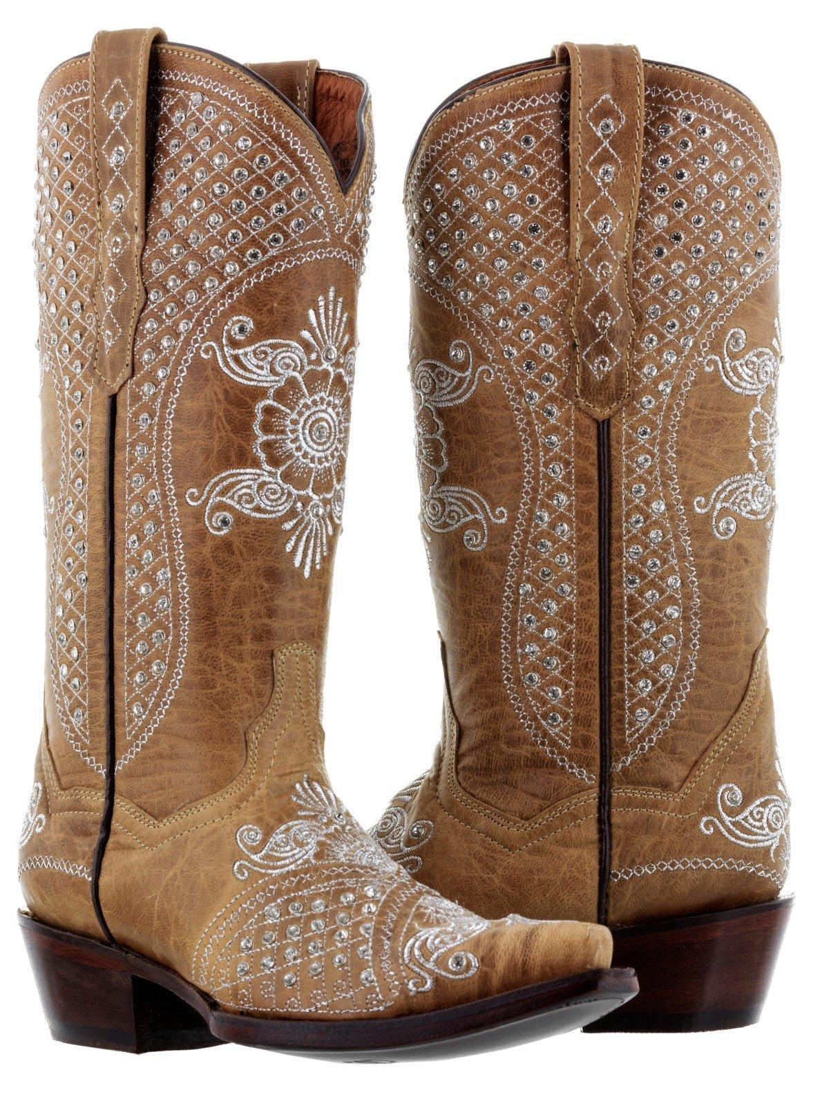 Cowboy Professional Women's Sand Marfil Rhinestones Wedding Cowboy Boots Snip 5 BM by Cowboy Professional