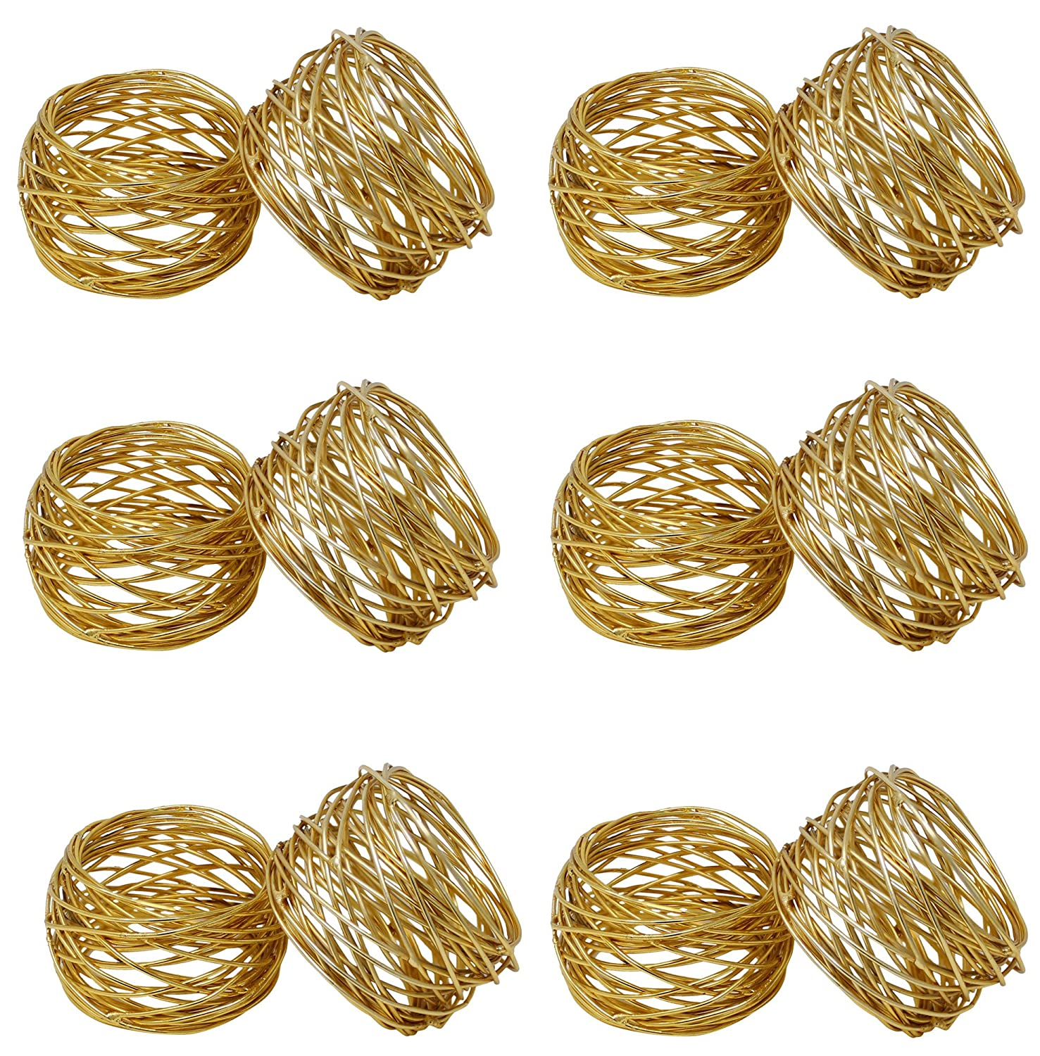 SKAVIJ Round Mesh Gold Napkin Rings Set of 12 Round for Weddings Dinner Parties or Every Day Use Godinger Silver Art COMINHKPR95660