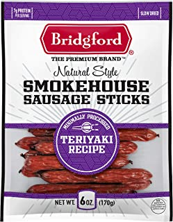 product image for Bridgford Smokehouse Sausage Sticks, High Protein, Made With 100% American Beef, Gluten Free, Teriyaki, 6 oz, Pack of 2