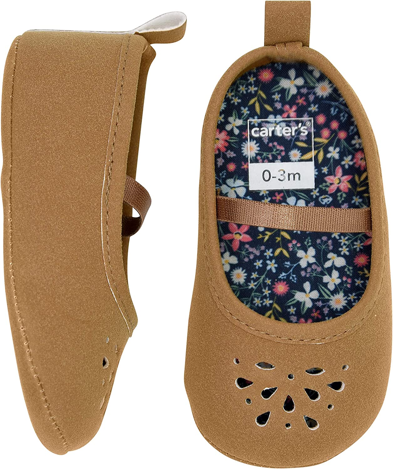 Carters Baby Girl Soft Sole Brown Perferated Mary Jane Dress Shoe 0-3 Months Flat