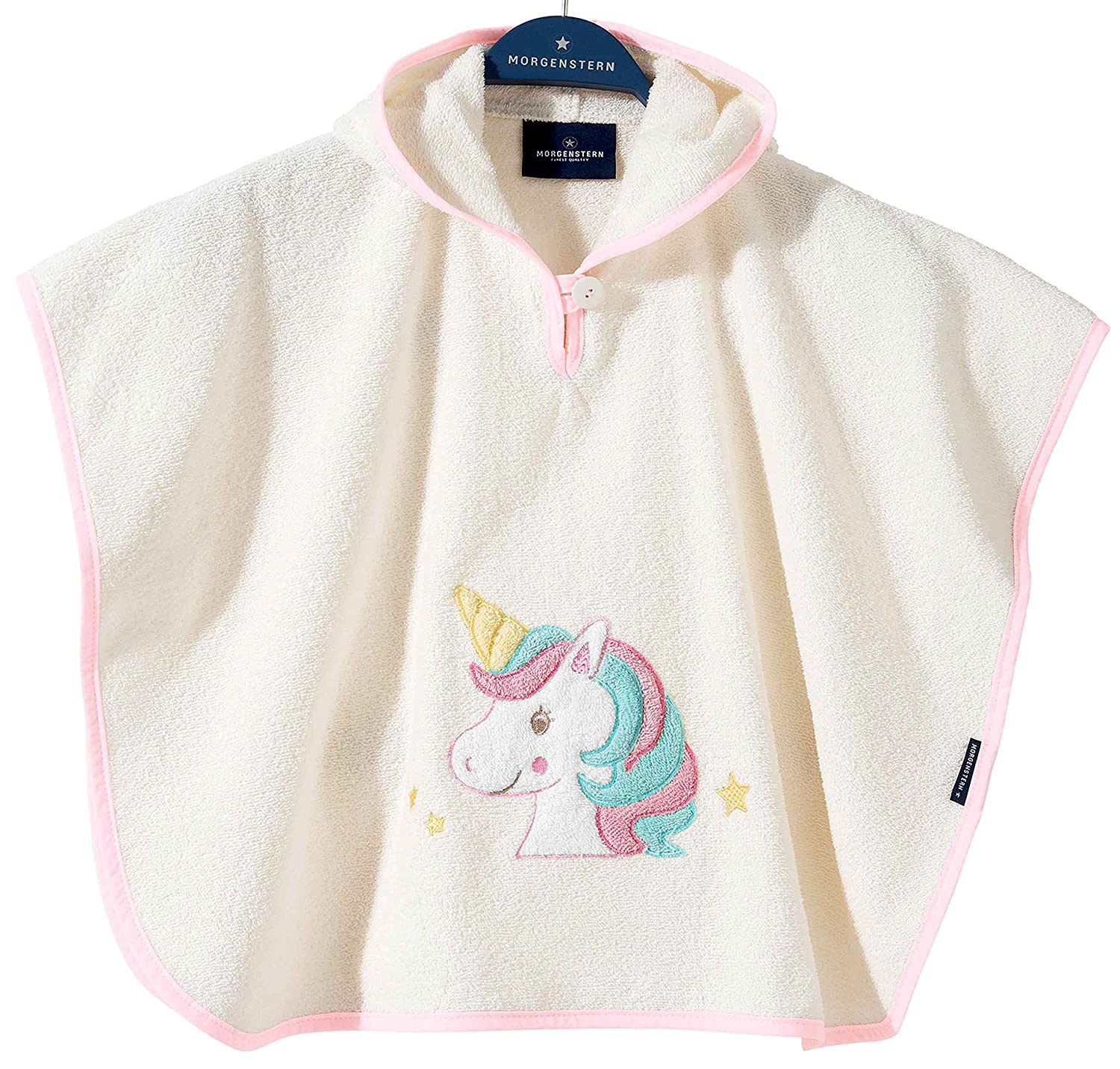 Morgenstern High Quality Childrens Hooded Poncho for Baby ,Toddler, Kids, Bath Beach Towel 1 - 3 yrs. Colour Beige, Unicorn Embroidery 0-0909/02