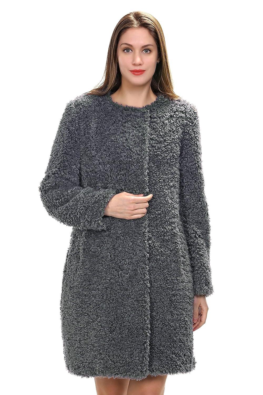 Adelaqueen New Style Grauer Kragenloser Knielanger Faux Fur Wolle Damenmantel