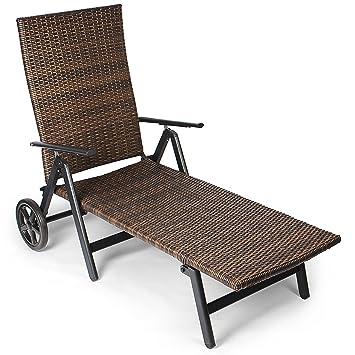 Vanage Sonnenliege Mit Polyrattan Optik In Braun Gartenliege Mit 2 Rädern Liegestuhl Ist Klappbar Gartenmöbel Strandliege Aus Aluminium