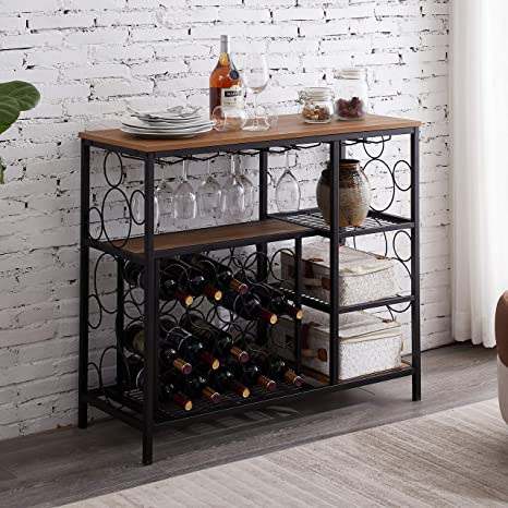 Amazon Com Hombazaar Industrial Wine Rack Table With Glass Holder And Wine Storage Console Table With Wine Rack Wine Bar Cabinet For Home Kitchen Dining Room Brown Kitchen Dining