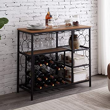 Amazon Com Hombazaar Industrial Wine Rack Table With Glass Holder And Wine Storage Console Table With Wine Rack Wine Bar Cabinet For Home Kitchen Dining Room Brown Furniture Decor
