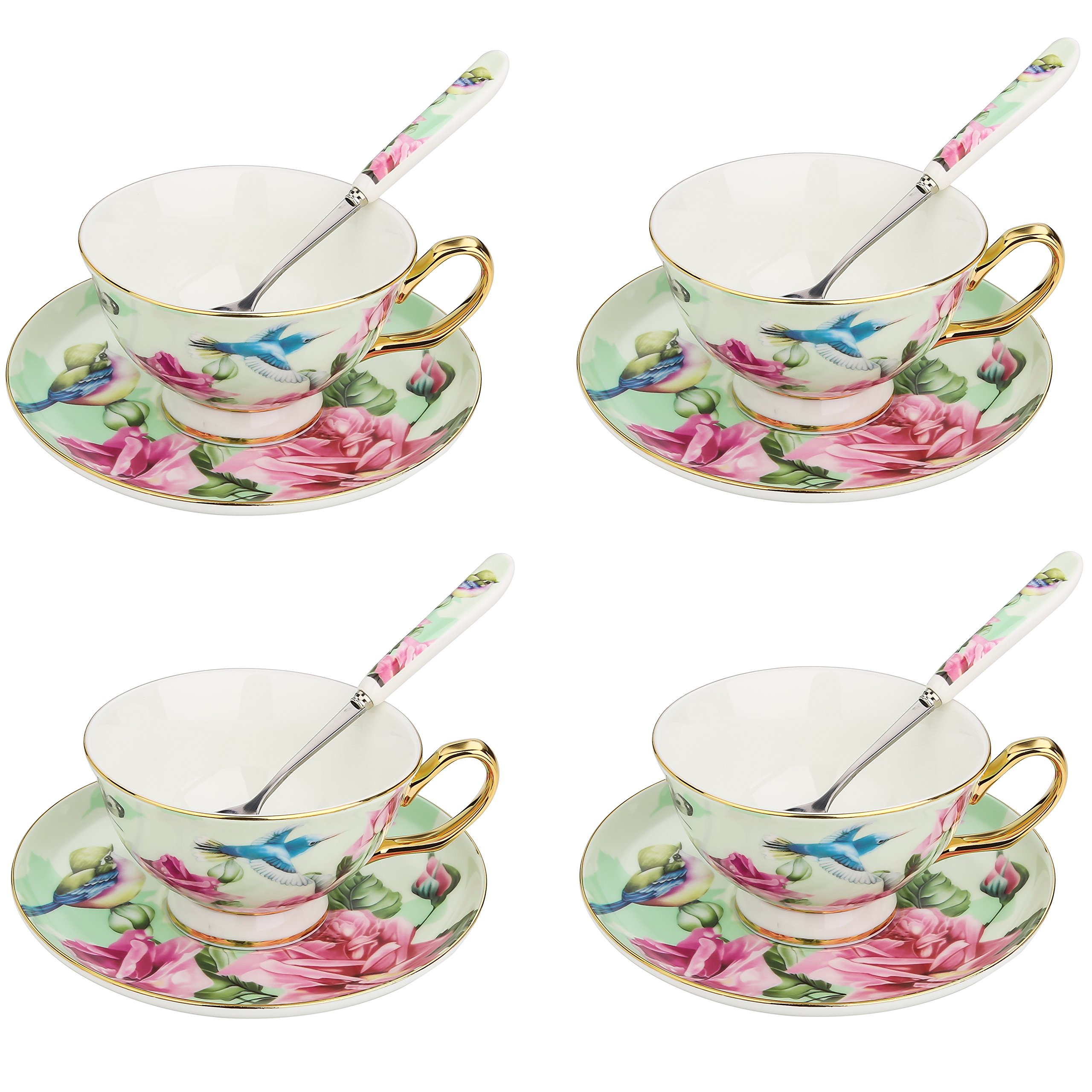 ARTVIGOR Coffee and Tea Serving Set, with Green Flower and Birds Painting, 6.8 Ounce New Bone China Cup and Saucer Sets with Spoon