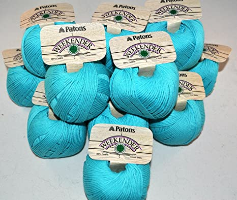 Patons hilo Weekender, turquesa, 13 madejas, 100% algodón, 1 3/4 ...