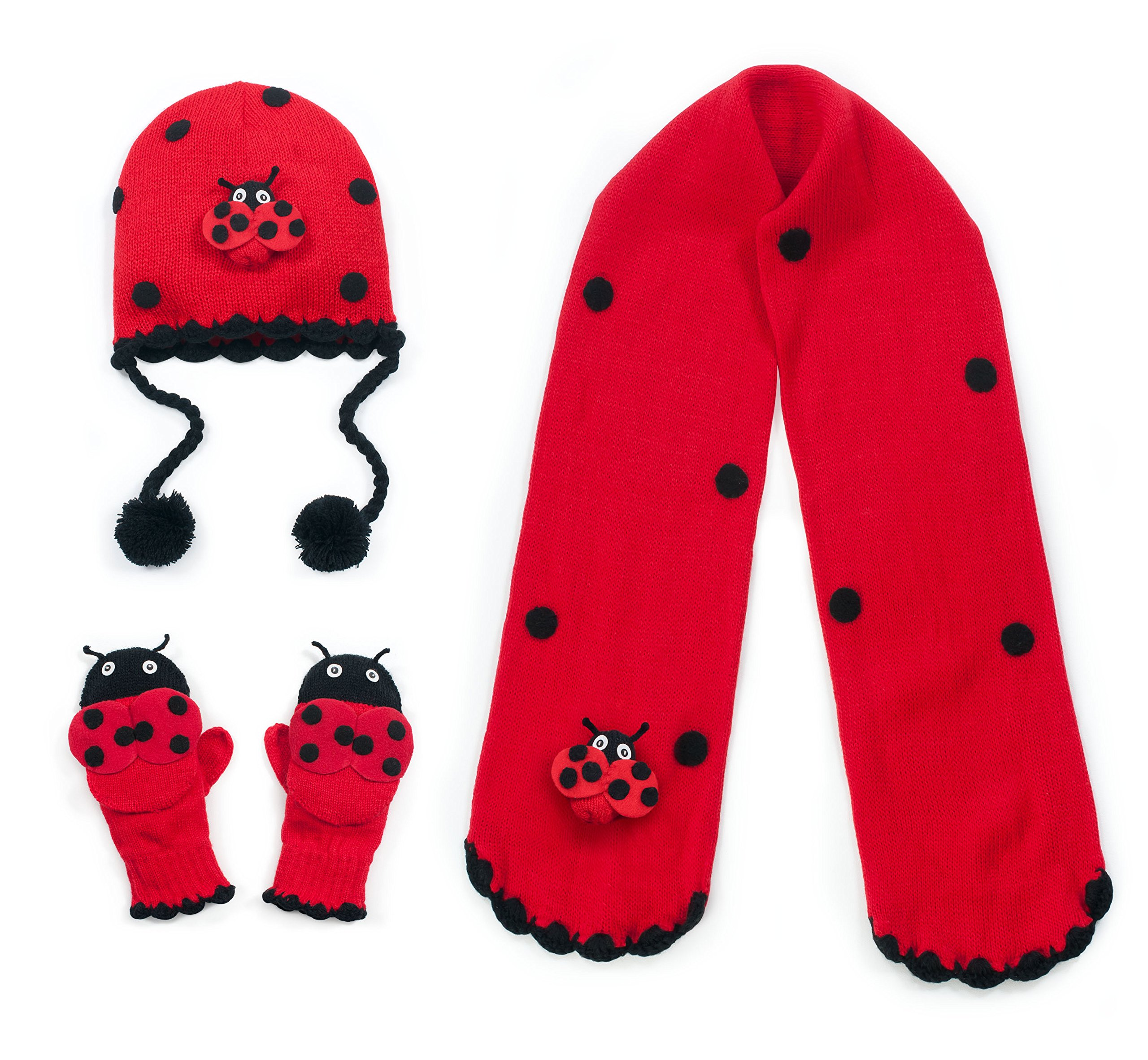 Kidorable Red Ladybug Soft Hat/Scarf/Mitten Set for Girls With Fun Wings and Antennae, Ages 3-5
