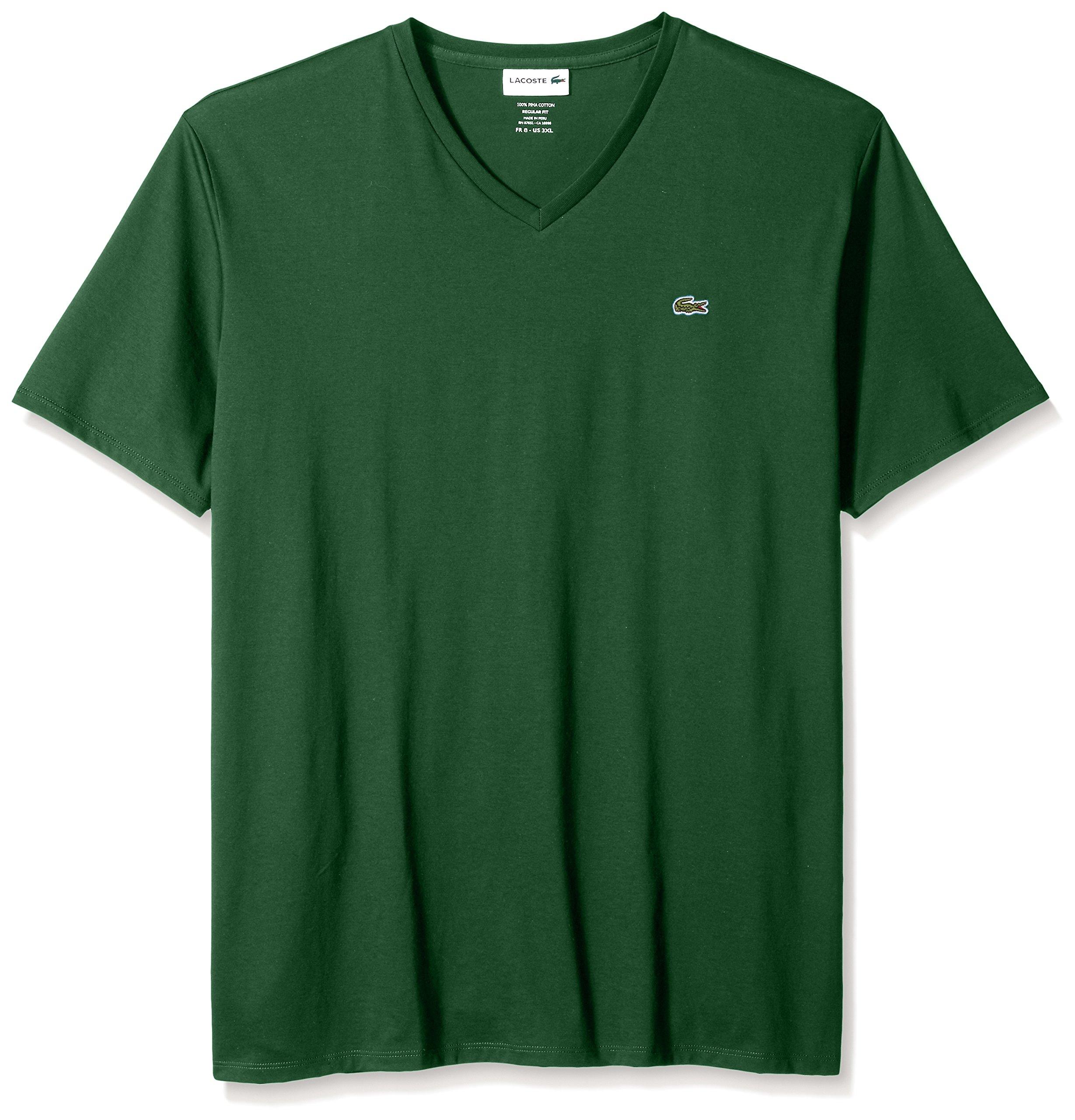 Lacoste Men's Short Sleeve V-Neck Pima Cotton Jersey T-Shirt, Green, X-Large