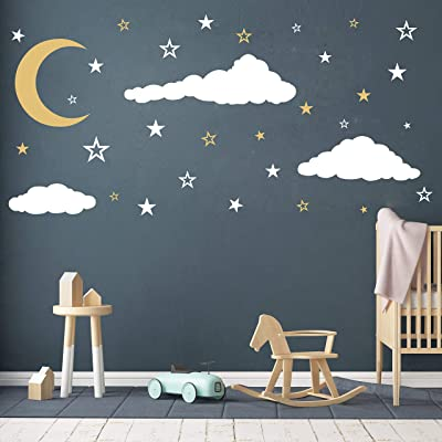 Moon, Stars and Clouds Wall Decals, Kids Wall Decoration, Nursery Wall Decal, Wall Decal for Nursery, Vinyl Wall Stickers for Children Baby Kids Boys Girls Bedroom Y08 (White,Gold): Home & Kitchen