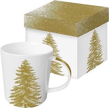 PPD Taza de Porcelana Decoracion con Arbol de Navidad Dorado y Caja Regalo Color Blanco: Amazon.es: Juguetes y juegos