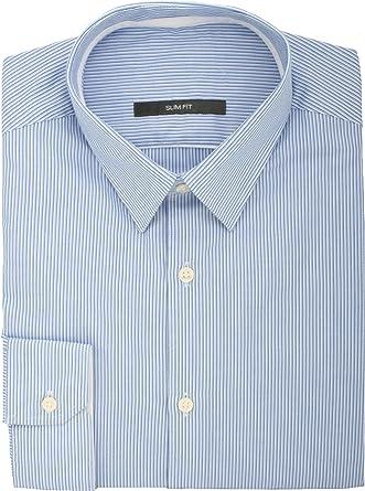 Ex Store azul diseño a rayas de manga larga fina de corriente ...