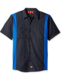 Dickies Occupational Workwear LS524CHRB Polyester/Cotton Men's Short Sleeve Industrial Color Block Shirt, Dark Charcoal...