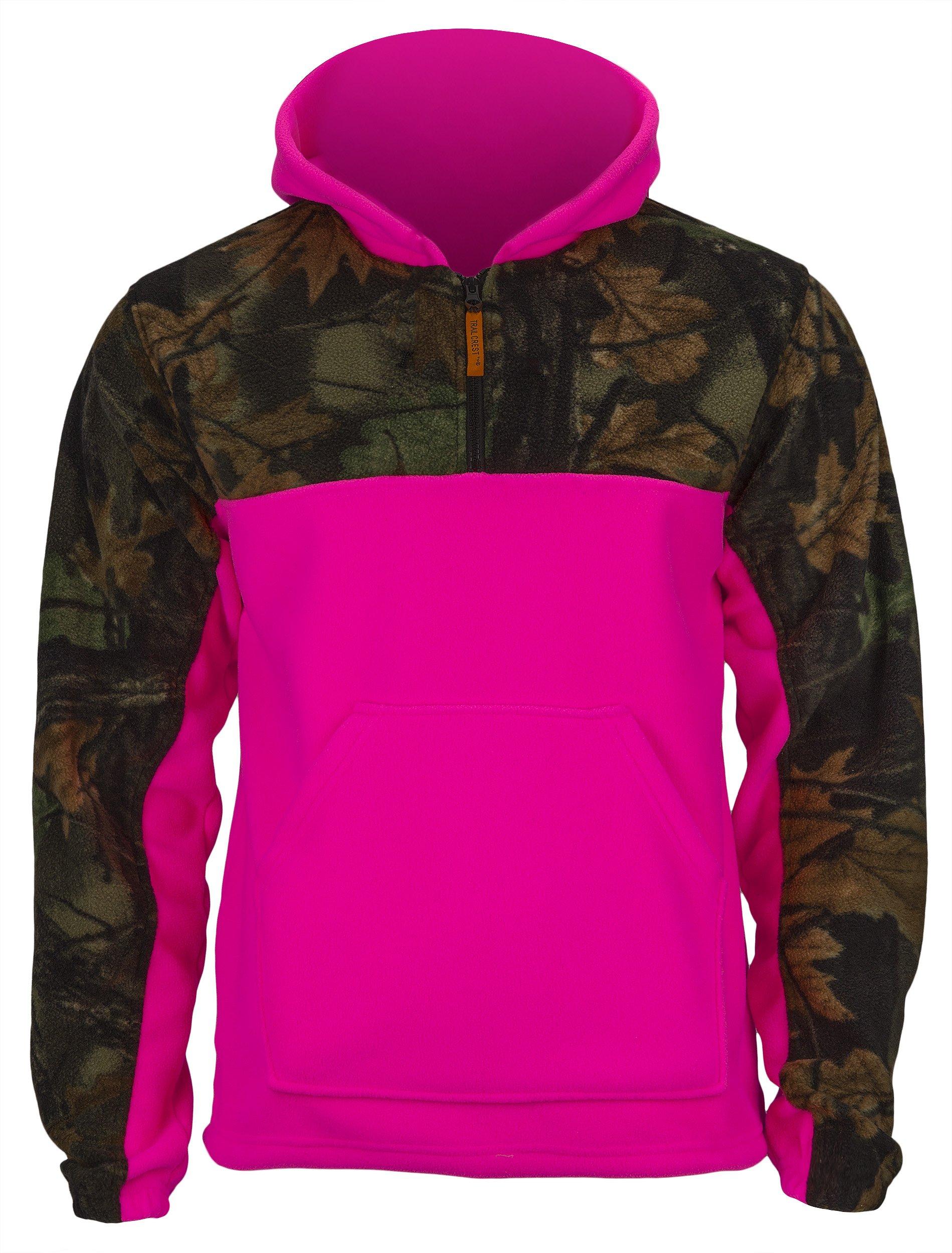 TrailCrest Girls Camo Fleece Hunting Camouflage 1/4 Zip Hooded Sweatshirt (Large, Camo/Rose)