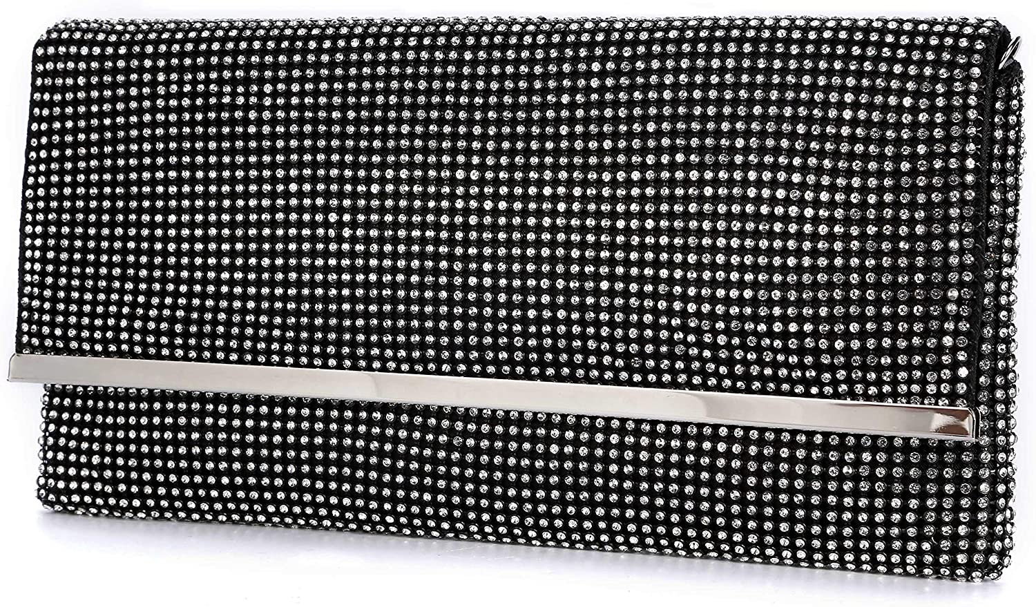 TanpellWomen's Bling Soft Rhinestone Crystal Evening Clutch Bags with Detachable Chain