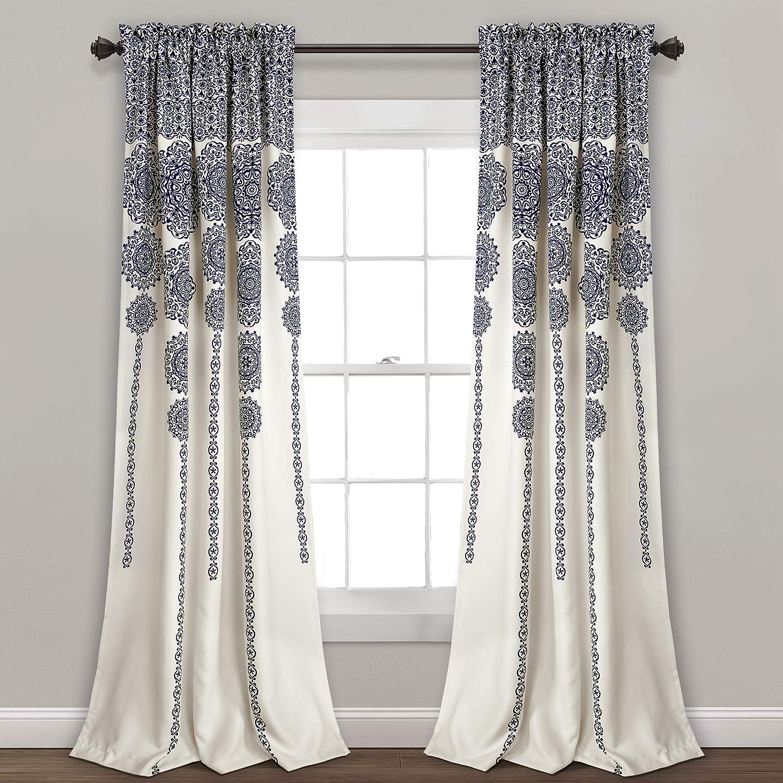 Lush Decor Stripe Medallion Curtains Fabric Mandala Bohemian Damask Print Room Darkening Window Panel Set for Living, Dining, Bedroom (Pair), 95
