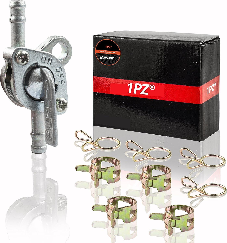 "1PZ M2W-001 In-Line Gas Fuel Shut Off Petcock fits 5mm or 3/16"" ID Hose Fuel Line"