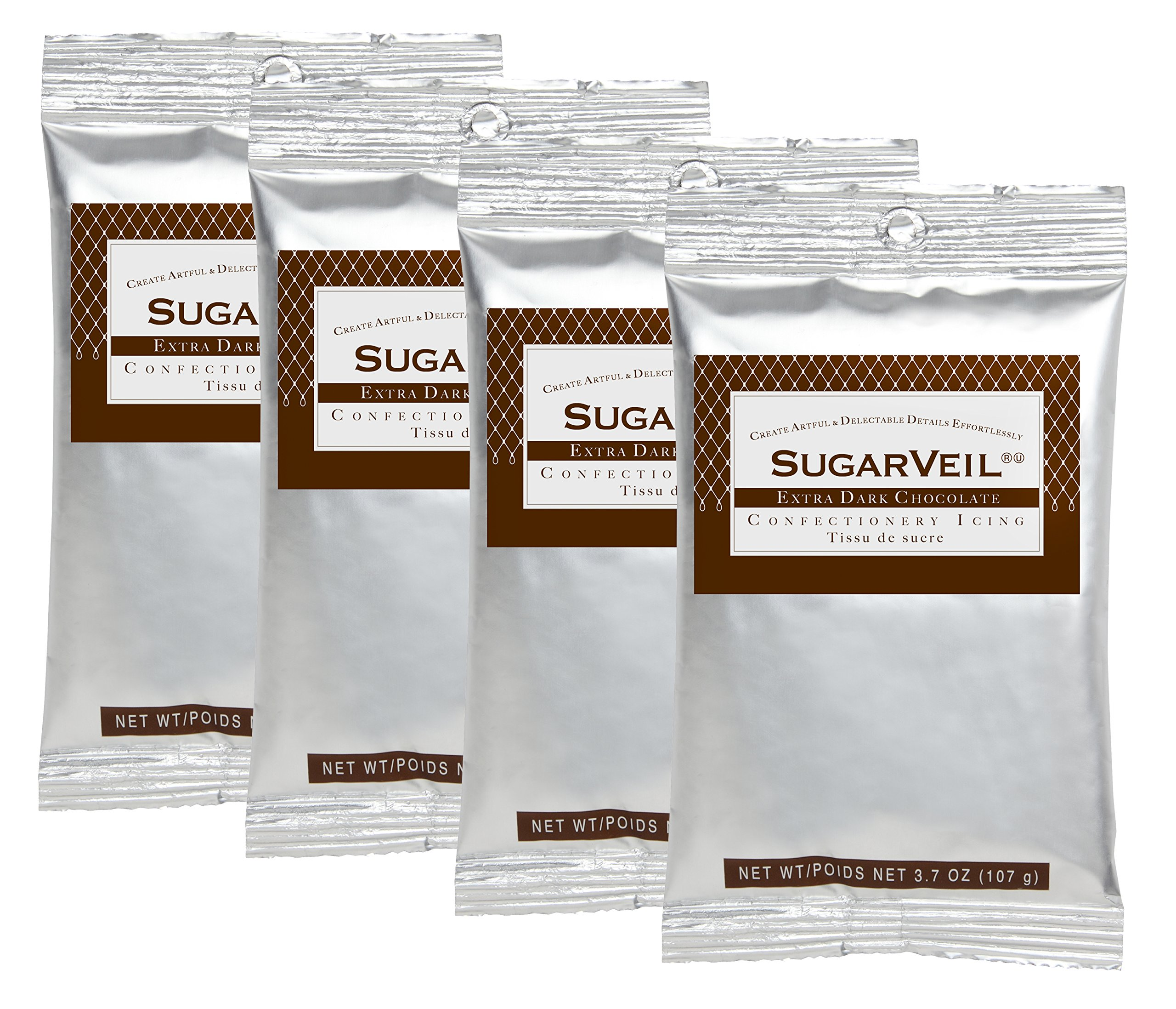 SugarVeil 4-pack of 3.7oz Extra Dark Chocolate Confectionery Icing