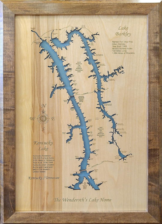 Lake Barkley KY laser cut wood map