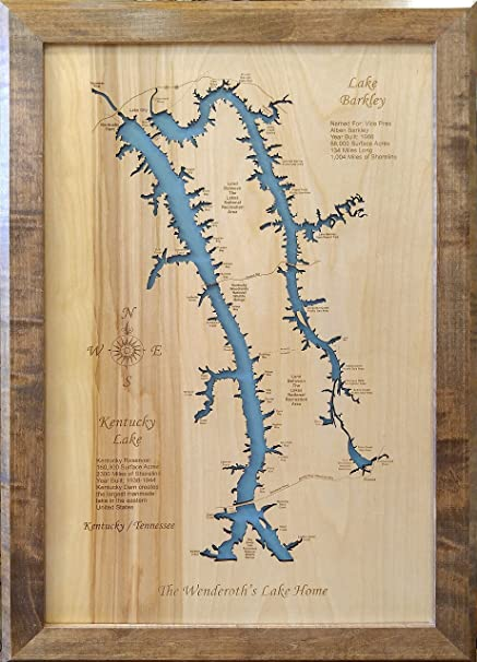 Wood Map Wall Hanging: Lake Barkley and Kentucky Lake (Framed 18 x Kentucky Lake Map on kentucky trail map, cumberland plateau map, louisville ky expo center map, kentucky peabody map, knobs region map, tower park trail map, kentucky precipitation map, kentucky county map, the land between lakes map, kuttawa ky road map, green river wa fishing map, kentucky city map, louisville kentucky map, kentucky dam, kentucky fall color map, kentucky road map, ky state map, georgetown ky zip code map, kentucky railway map,